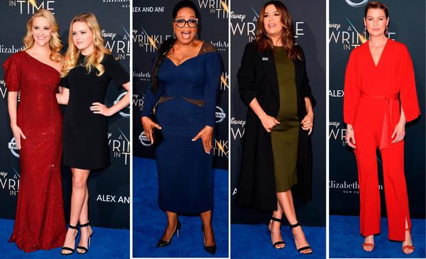 (L to R) Reese Witherspoon and Ava Phillippe, Oprah Winfrey, Eva Longoria and Ellen Pompeo at the premiere of A Wrinkle in Time