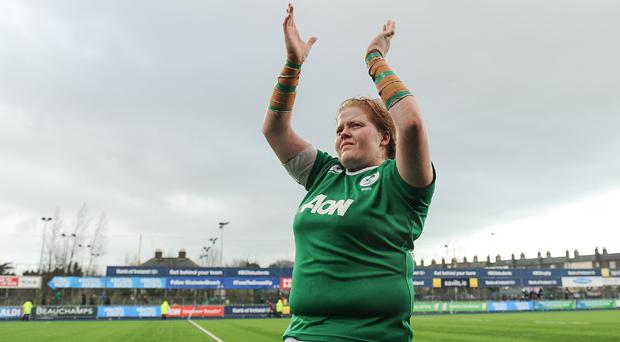 Leah Lyons crossed the whitewash for a try in Ireland's comprehensive win over Wales