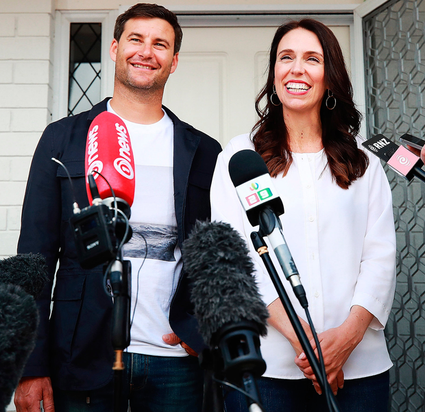 New Zealand Prime Minister Jacinda Ardern and her partner Clarke Gayford. Photo: Getty Images