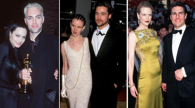 (L to R) Angelina Jolie and James Haven in 2000, Juliette Lewis and Brad Pitt in 1992, Nicole Kidman and Tom Cruise in 1996