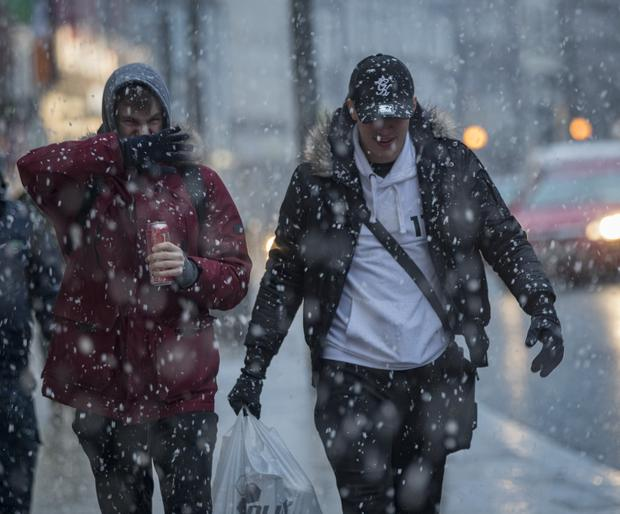 Shoppers brave the snow in Drogheda as the Beast from the East arrives in Ireland. Picture: Arthur Carron