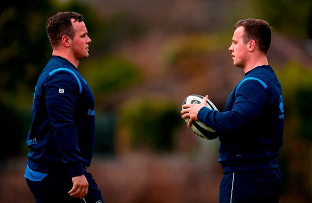 Ed (left) and Bryan Byrne during a Leinster training session. Photo: Stephen McCarthy/Sportsfile