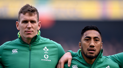24 February 2018; Chris Farrell, left, and Bundee Aki of Ireland prior to the NatWest Six Nations Rugby Championship match between Ireland and Wales at the Aviva Stadium in Lansdowne Road, Dublin. Photo by David Fitzgerald/Sportsfile