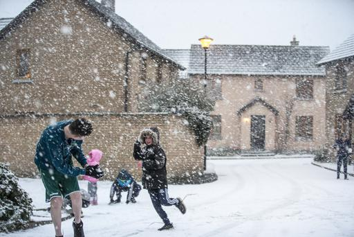 Having fun in North Dublin as storm Emma hits Ireland Pic:Mark Condren
