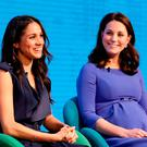(L-R) Meghan Markle and Catherine, Duchess of Cambridge attend the first annual Royal Foundation Forum held at Aviva on February 28, 2018 in London