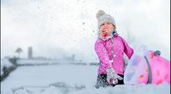 Isobel Conachy from Slane, Co Meath, enjoying the day off school in the fluffy snow. Picture By David Conachy. 28/2/2018