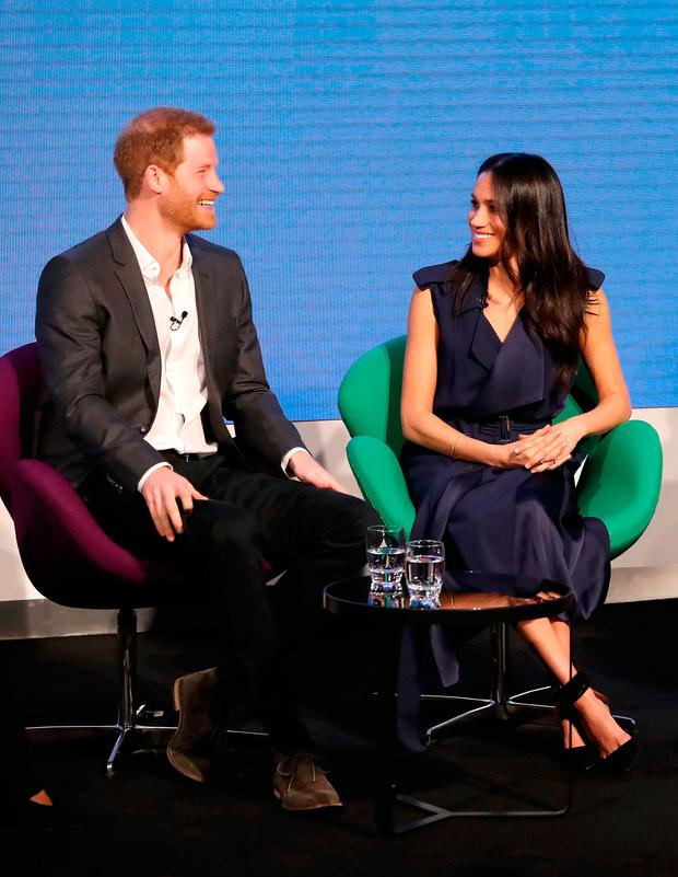 Britain's Prince Harry (L) and his fiancee US actress Meghan Markle attend the first annual Royal Foundation Forum on February 28, 2018 in London. / AFP PHOTO / POOL / Chris JacksonCHRIS JACKSON/AFP/Getty Images