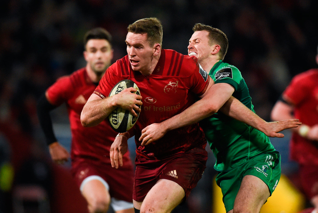 6 January 2018; Chris Farrell of Munster is tackled by Jack Carty of Connacht during the Guinness PRO14 Round 13 match between Munster and Connacht at Thomond Park in Limerick. Photo by Diarmuid Greene/Sportsfile