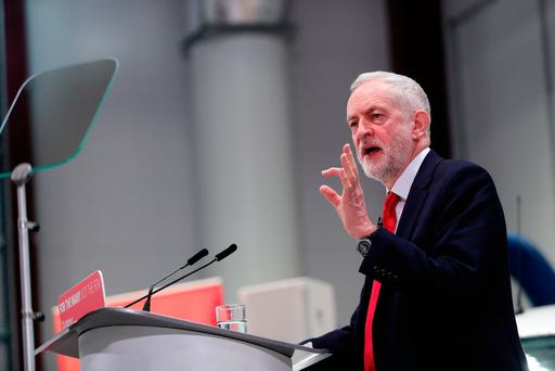 UK Labour leader Jeremy Corbyn delivers his keynote Brexit speech at Coventry University Technology Park, Coventry. Photo: Aaron Chown/PA Wire