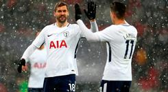 Fernando Llorente (L) and Erik Lamela (R) of Tottenham celebrate. Photo: Getty