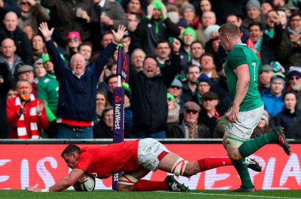 Aaron Shingler's try exposed Ireland's defence in their victory against Wales and they can't afford a repeat against Scotland. Photo: PA