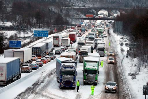 The scene on the M80 Haggs in Glasgow, as the highest level of weather warning has been issued for Scotland and Ireland as forecasters warn of