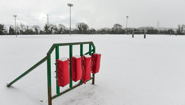A general view of a snow covered De La Salle Palmerston FC rugby grounds in Stepaside, Dublin. Photo by Piaras Ó Mídheach/Sportsfile