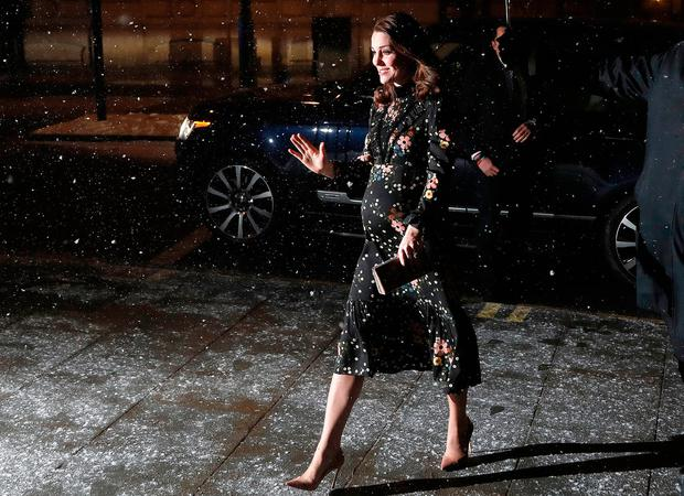 Britain's Kate, the Duchess of Cambridge arrives at National Portrait Gallery to visits the exhibition Victorian Giants, The Birth of Art Photography, in London, Wednesday, Feb. 28, 2018