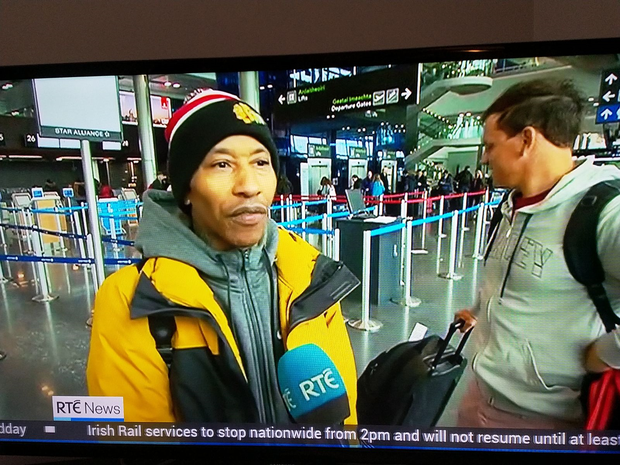 Fredro Starr talks to RTE News about his travel ordeal thanks to Storm Emma. PIC: Twitter