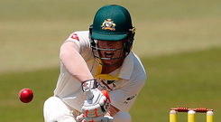 David Warner plays a forward defensive shot during the opening day of the first Test in Durban. Photo: Getty Images