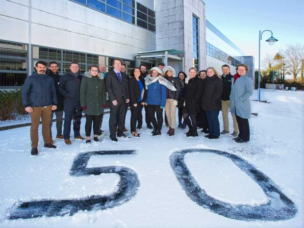 Staff at Apex Financial Services were celebrating in the snow the opening of their new offices at Carrigtwohill, Cork and the creation of 50 new jobs at the company in the next 18 months