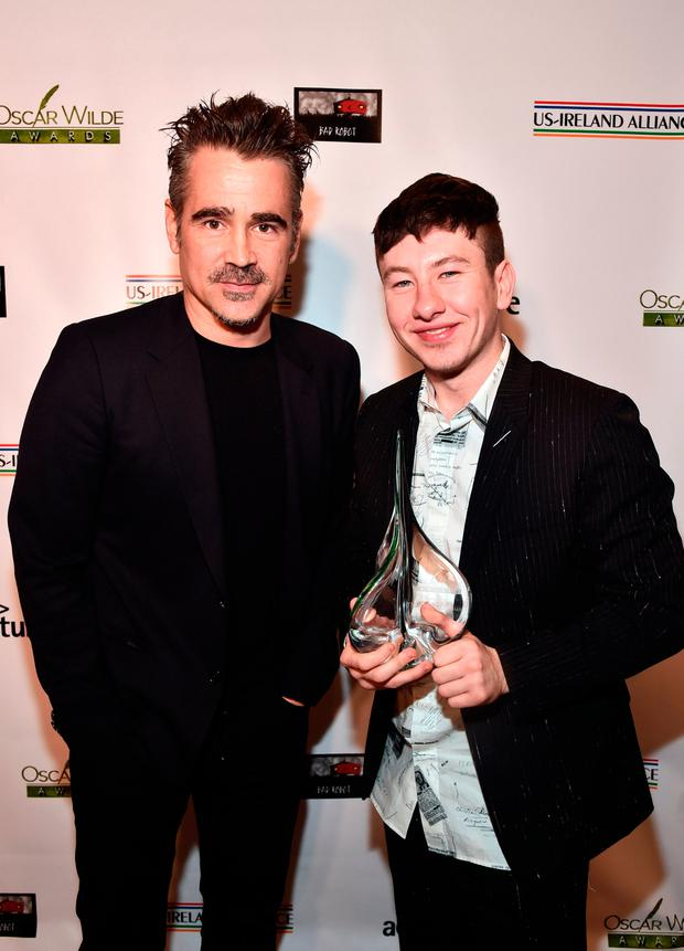 Colin Farrell (L) and Barry Keoghan attend the Oscar Wilde Awards 2018 at Bad Robot on March 1, 2018 in Santa Monica, California. (Photo by Alberto E. Rodriguez/Getty Images for US-Ireland Alliance )