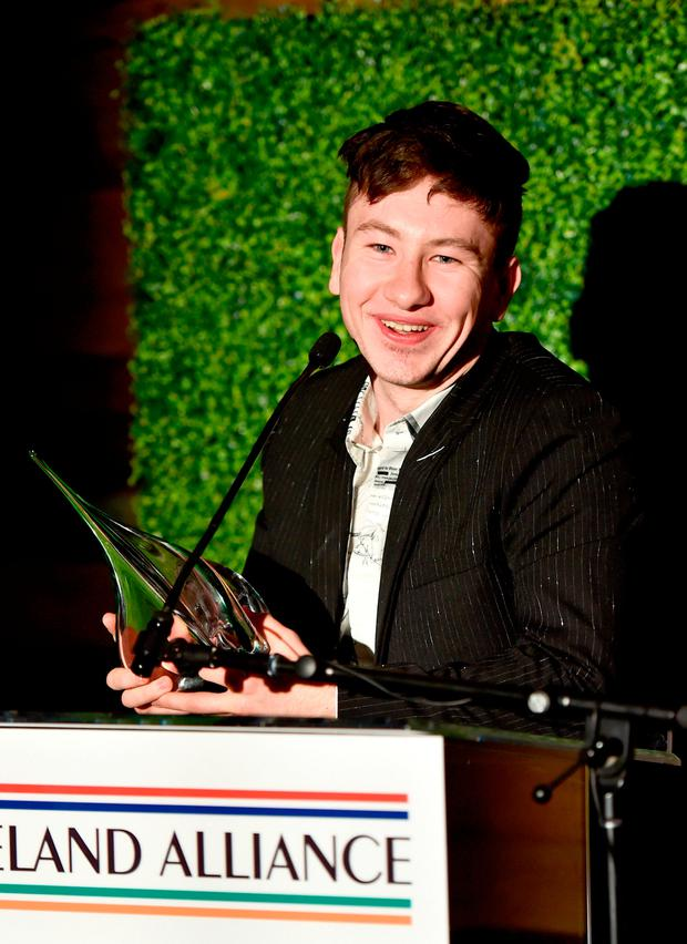 Barry Keoghan speaks onstage during the Oscar Wilde Awards 2018 at Bad Robot on March 1, 2018 in Santa Monica, California. (Photo by Alberto E. Rodriguez/Getty Images for US-Ireland Alliance )