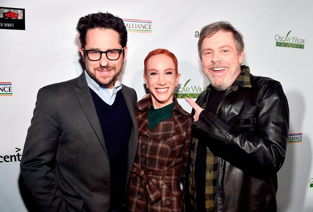 (L-R) J.J. Abrams, Kathy Griffin, and Mark Hamill attend the Oscar Wilde Awards 2018 at Bad Robot on March 1, 2018 in Santa Monica, California. (Photo by Alberto E. Rodriguez/Getty Images for US-Ireland Alliance )