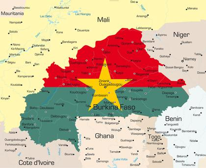 Map of Burkina Faso country colored by national flag