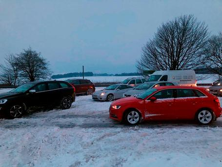 Handout photo issued by Thomas Hamilton of queues amid delays overnight on the A303 between Ilminster, Somerset and Mere, Wiltshire, as extreme weather has continued to wreak havoc across the UK Thomas Hamilton/PA Wire