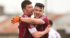 Gareth Bradshaw, left, and Damien Comer of Galway celebrate at the final whistle after victory over Kerry in the Allianz Football League Division 1 Round 4 match between Kerry and Galway at Austin Stack Park in Kerry. Photo by Diarmuid Greene/Sportsfile