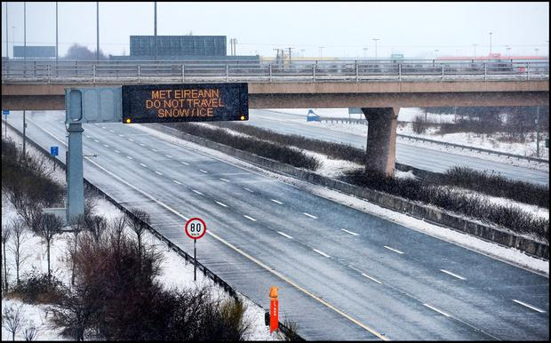 The M1 Motorway at the Dublin Airport flyover. Pic Steve Humphreys