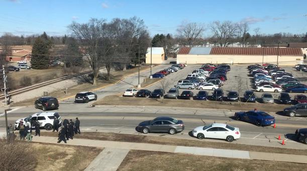 The site of shooting at Central Michigan University is seen, in Mount Pleasant, U.S., March 2, 2018 in this picture obtained from social media. COURTESY of GRANT POLMANTEER /via REUTERS THIS IMAGE HAS BEEN SUPPLIED BY A THIRD PARTY.