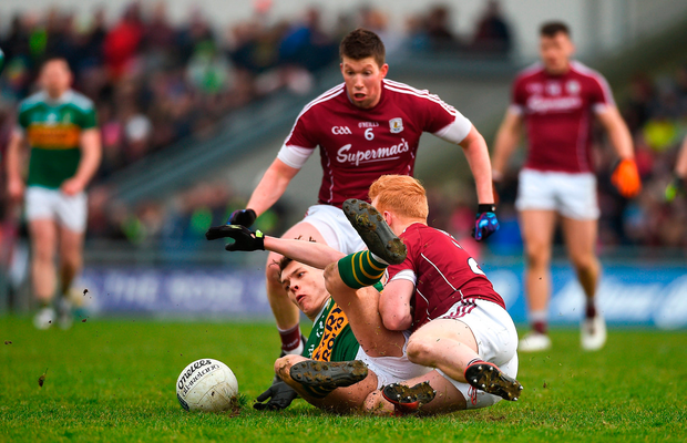 David Clifford scrambles for the ball during last week's rare defeat to Galway. Clifford's contribution has been outstanding but Kerry's campaign has struggled to get off the ground. Photo by Diarmuid Greene/Sportsfile