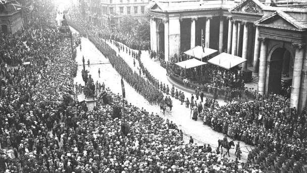Forgotten men: A victory parade for the Irish soldiers returning from the Great War outside College Green, Dublin