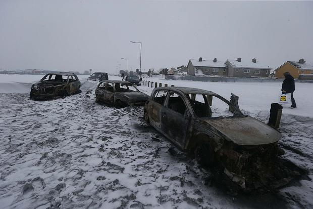 Burnt out cars pictured on Russell Walk Pic Stephen Collins/Collins Photos