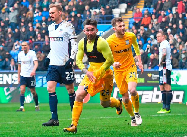 Preston North End's Sean Maguire celebrates scoring his side's second goal of the game during the Sky Bet Championship match at the Macron Stadium, Bolton. Dave Howarth/PA Wire.