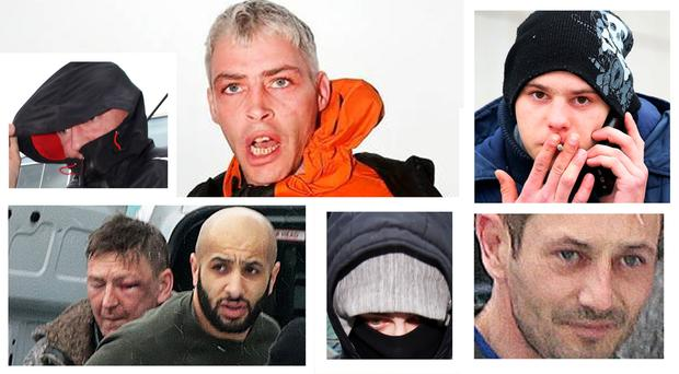 Seven of the accused outside court; top (l-r) Keith Kelly, Gerard Buggle, Pouilas Gueizecius; bottom (l-r) John Kelly, Mohammad Smeu, Edgar Cesynas and David Bernie