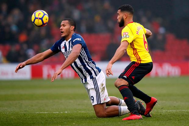 West Bromwich Albion's Salomon Rondon in action with Watford's Adrian Mariappa. Photo: Reuters