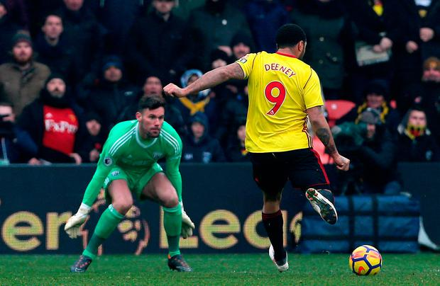 Watford's Troy Deeney scores his side's first goal Photo: PA