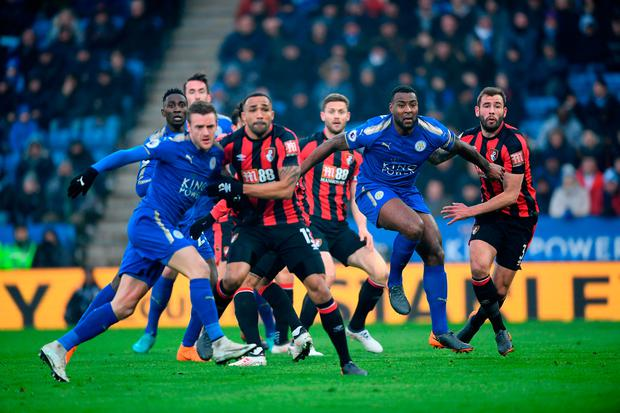 Leicester and Bornemouth players battle for a corner Photo: Getty