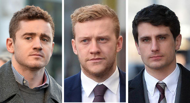 From left to right, Ireland and Ulster player Paddy Jackson, 26, his team-mate Stuart Olding, 24, and third defendant Blane McIlroy, 26