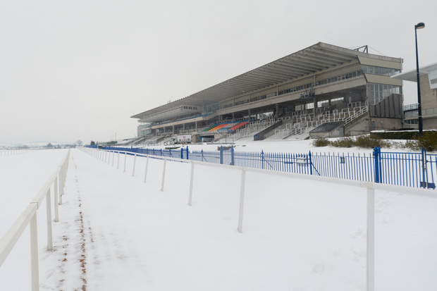 Leopardstown Racecourse Dublin closed due to snow. Pic: Justin Farrelly.