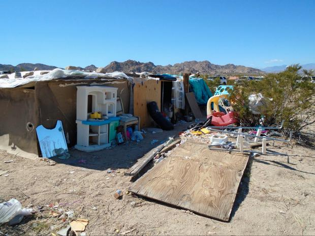 The sheriff's department said three children had been living in this box for years Photo:San Bernardino County Sheriff's Department