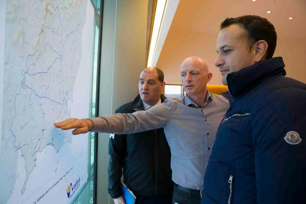 An Taoiseach Leo Varadkar visited Wexford Council building where the Emergency Group meets on the weather situation in Co. Wexford. Pictured with the Taoiseach is Minister Paul Kehoe TD and Frank Byrne Wexford Co. Council mapping section. Picture: Patrick Browne