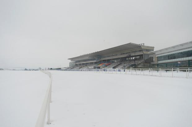 SNOW GO: Leopardstown racecourse in Dublin was closed due to snow. Pic: Justin Farrelly
