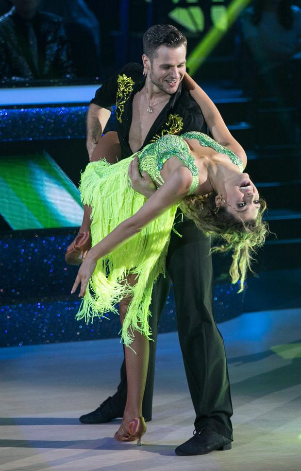 Model Alannah Beirne and Vitali Kozmin who were voted out in a dance off with Erin McGregor and Ryan McShane during the Live show of RTE's Dancing with the Stars. kobpix