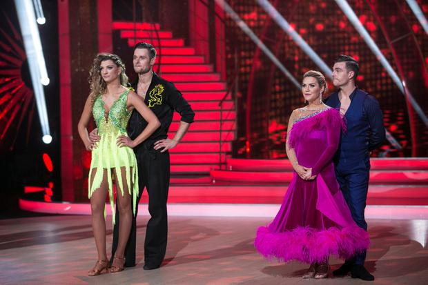 Model Alannah Beirne and Vitali Kozmin who were voted out in a dance off with Erin McGregor and Ryan McShane,during the Live show of RTE's Dancing with the Stars. kobpix