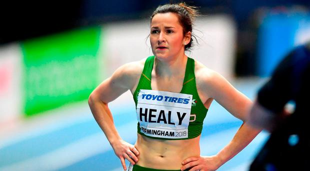 Ireland's Phil Healy following her third placed finish in the Women's 400 Metres Heats on Day Two of the IAAF World Indoor Championships at the Birmingham Arena, England. Photo: Sam Barnes/Sportsfile