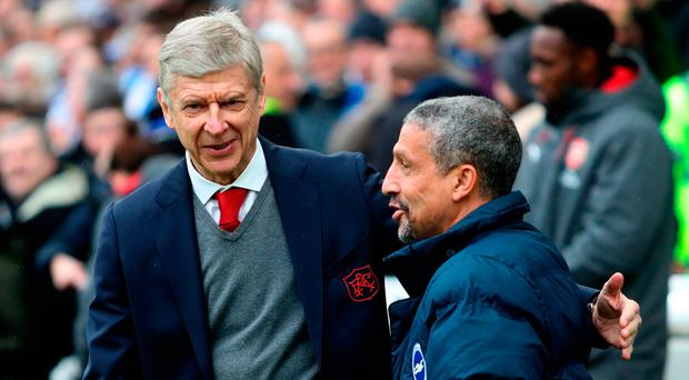 'Chris Hughton (right) would make a very good successor to Arsene Wenger, but he is unlikely to be given the opportunity'. Photo: Getty Images