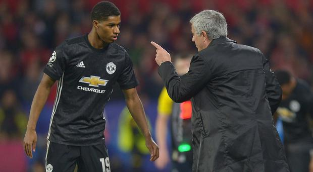Marcus Rashford receives directions from Manchester United manager Jose Mourinho druing their recent Champions League tie at Sevilla. Photo: Aitor Alcalde/Getty Images