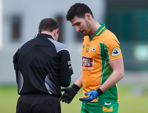 Farragher: getting his marching orders from ref Derek O'Mahoney. Photo: Sportsfile