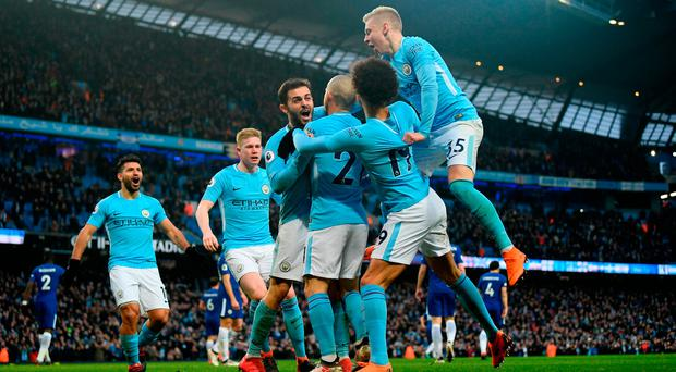 Manchester City players celebrate after Bernardo Silva's winning goal. Photo: Laurence Griffiths/Getty Images