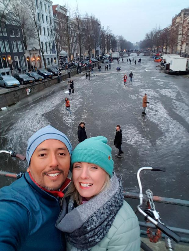 Claire Murphy and her husband Gianmarco doing some impromptu sightseeing in Amsterdam
